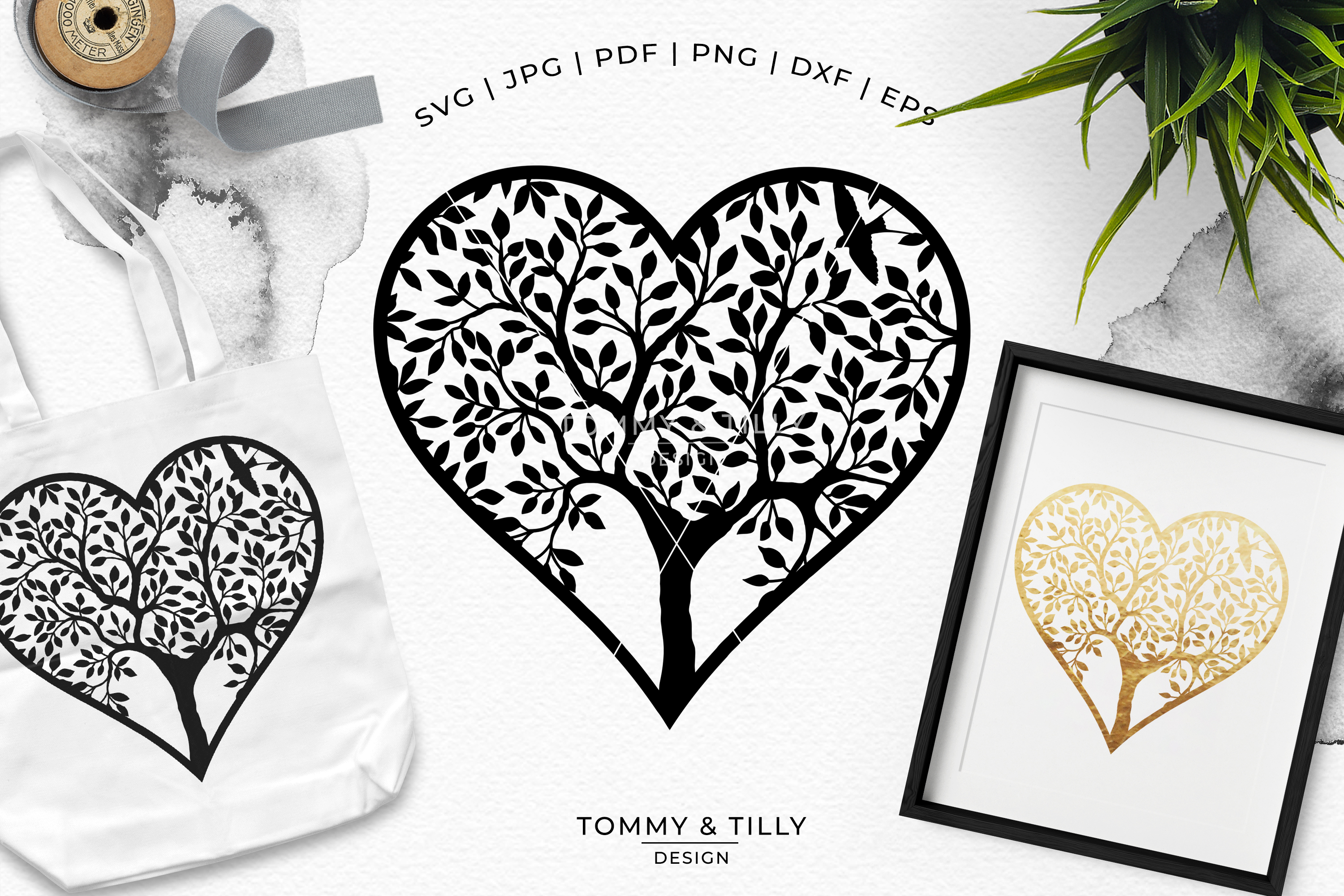 Heart Tree - Papercut Template SVG EPS DXF PNG PDF JPG example image 4