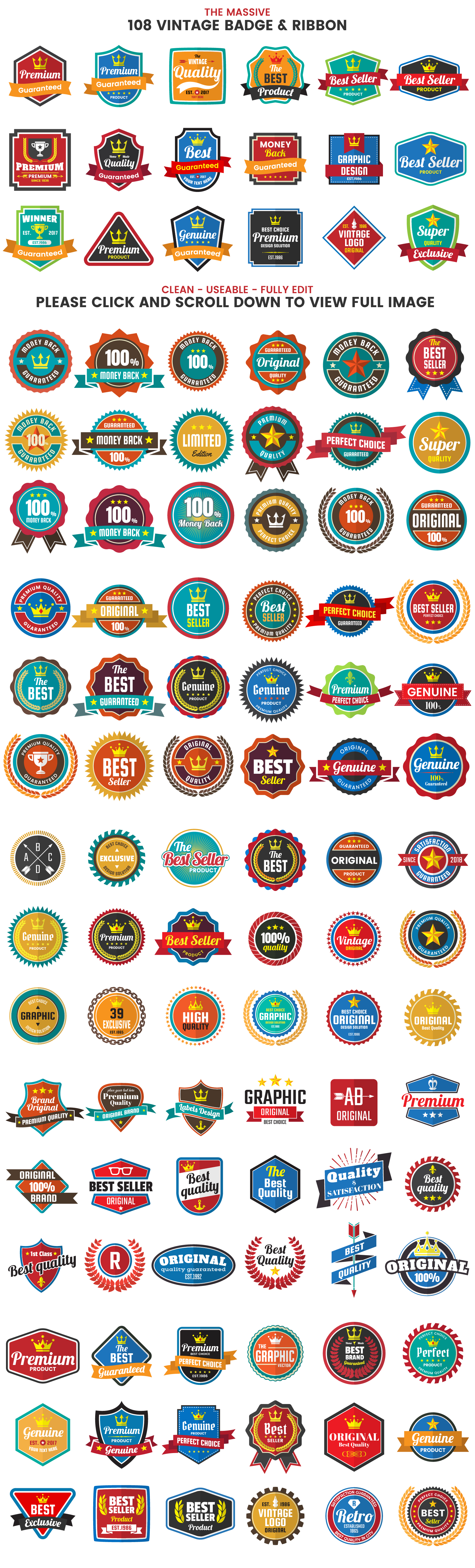 1046 VINTAGE BADGE & RIBBON example image 5