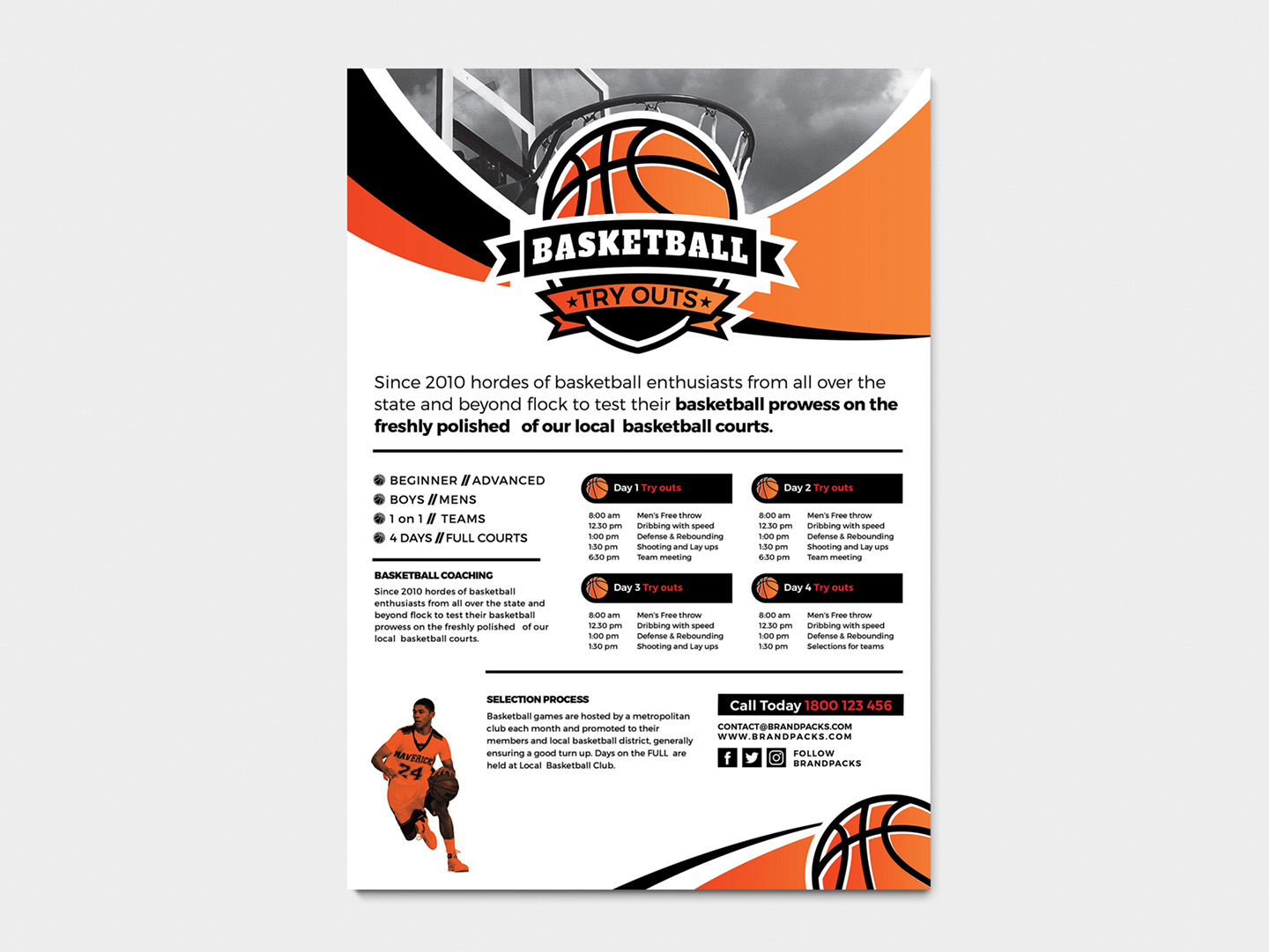 A4 Basketball Advertisement Template example image 4