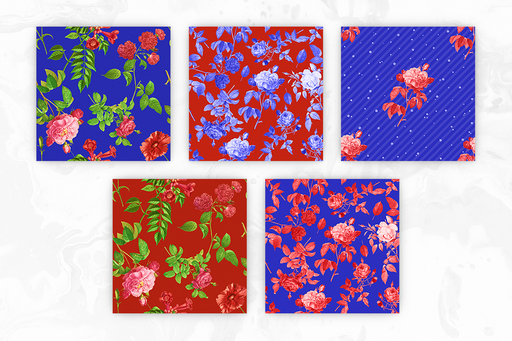 Red & Blue Tileable Floral Backgrounds example image 2