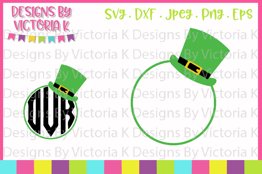 St Patrick's Day, Leprechaun Hat Monogram, SVG, DXF, PNG example image 1