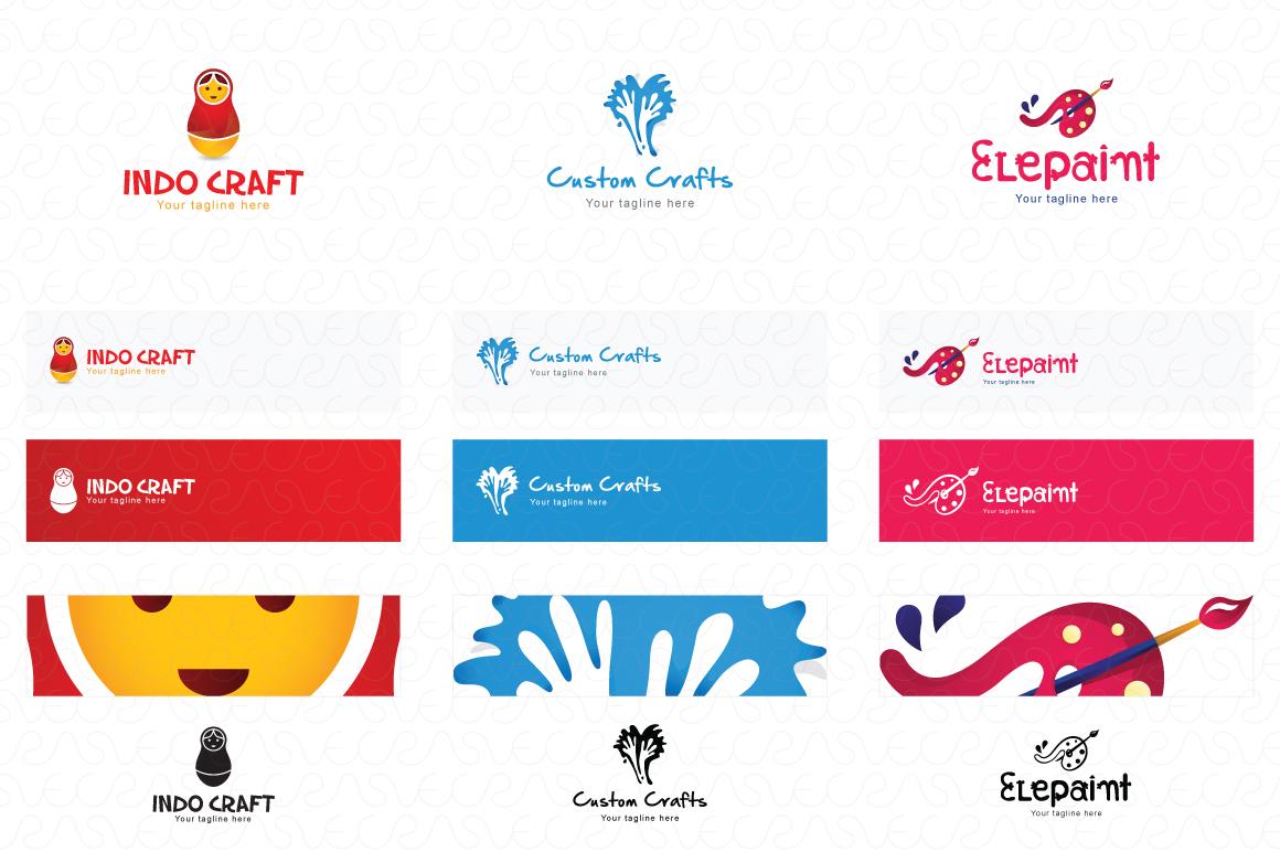 Art Craft Handicrafts Logo Templates Pack of 12 example image 2