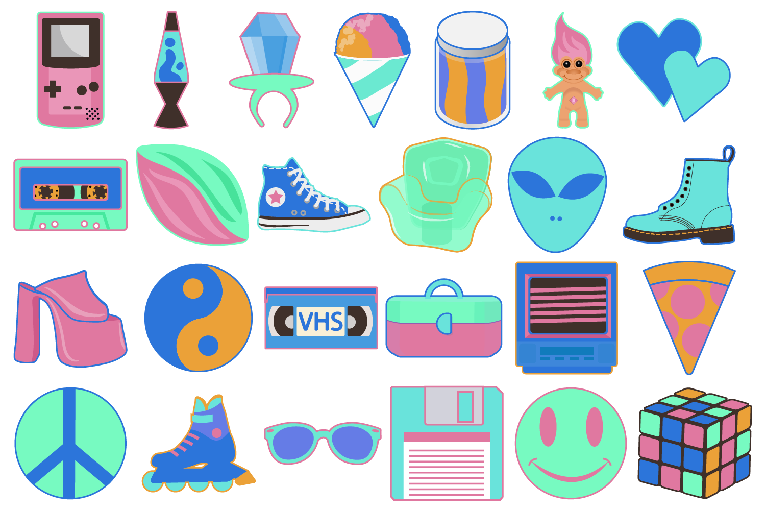 Neon 90's Clipart Set - 25 icons example image 1