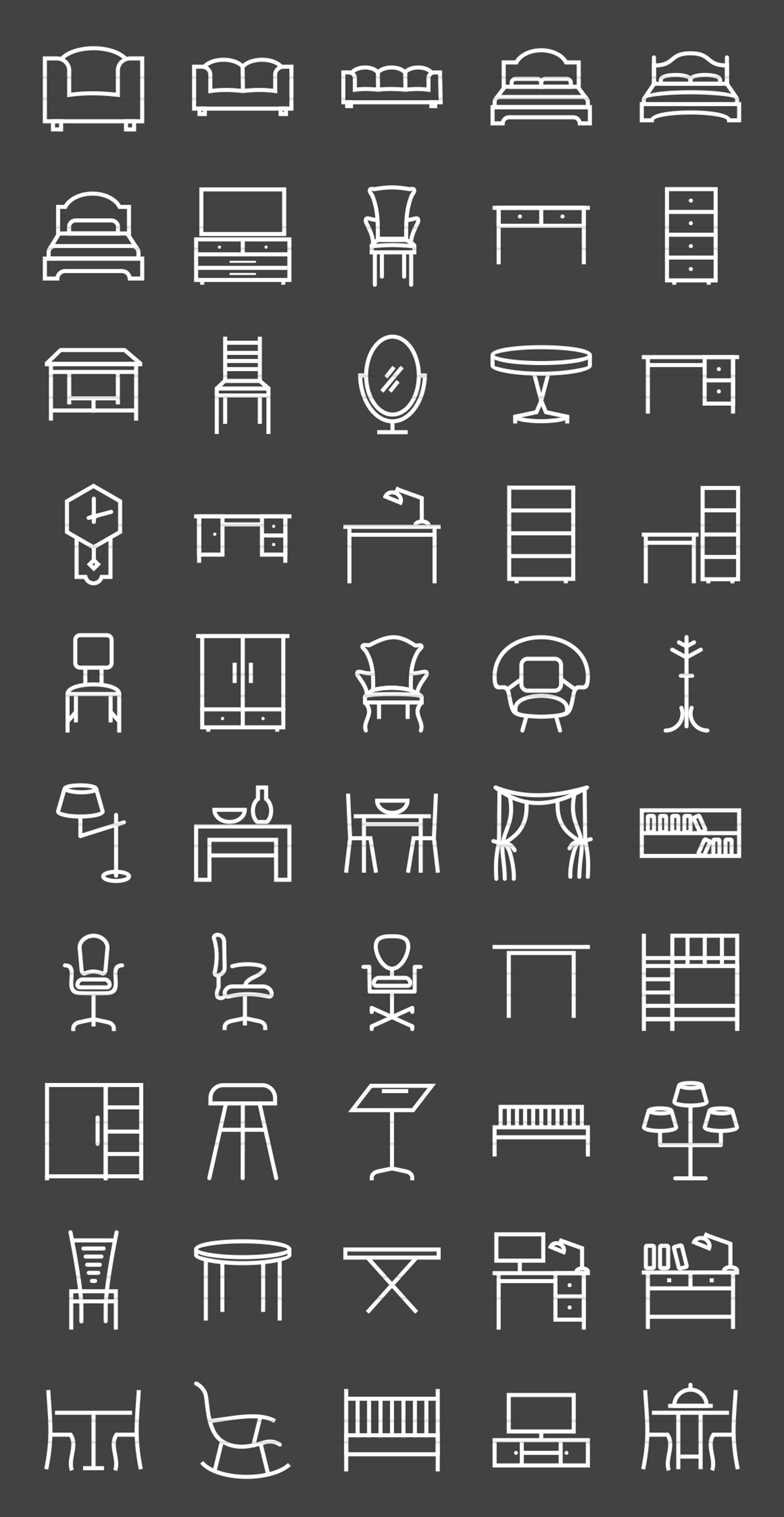 50 Furniture Line Inverted Icons example image 2