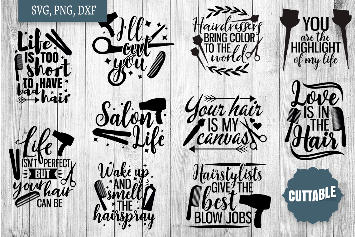 Hairdressers quote SVG bundle, Hairstylist cut file bundle example image 1