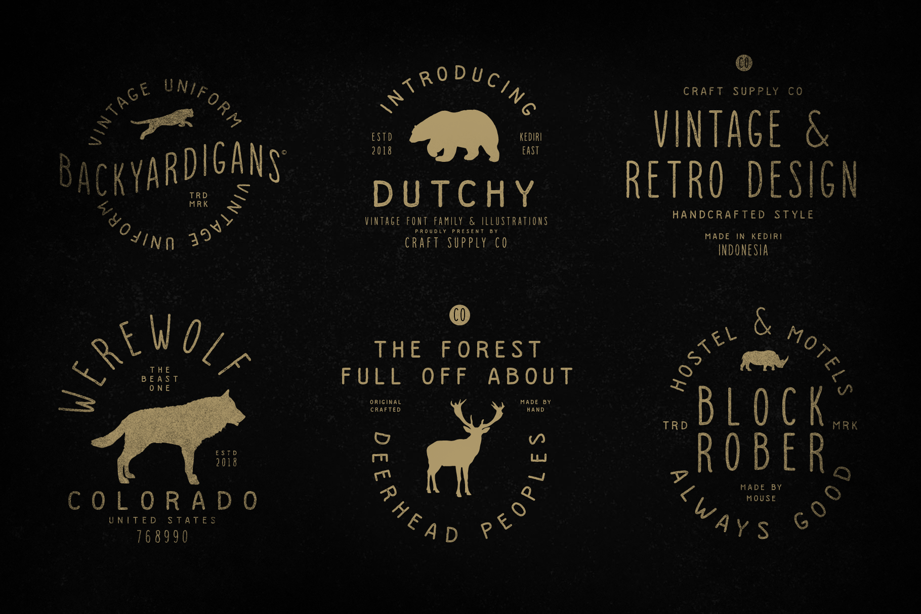 Dutchy - Vintage Type Family with Extras example image 2