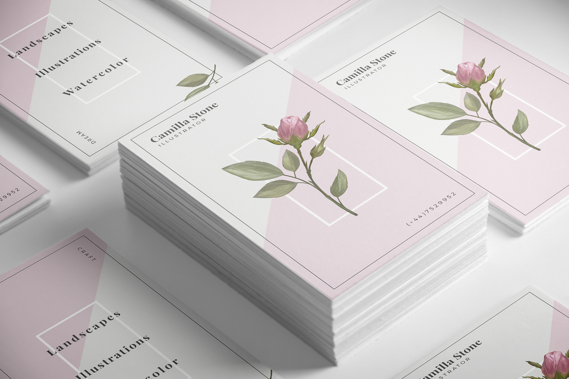 Pink Rose Business Card Template example image 2