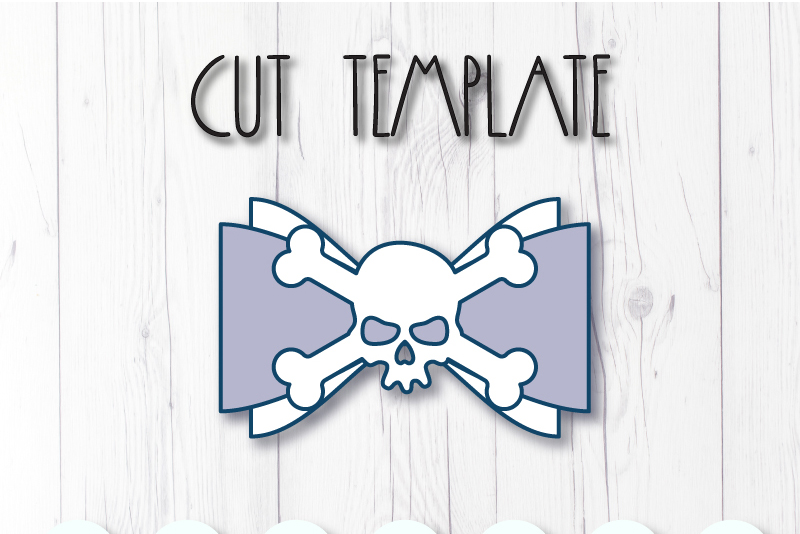 Skull Hair bow template SVG, DIY leather bow template example image 2