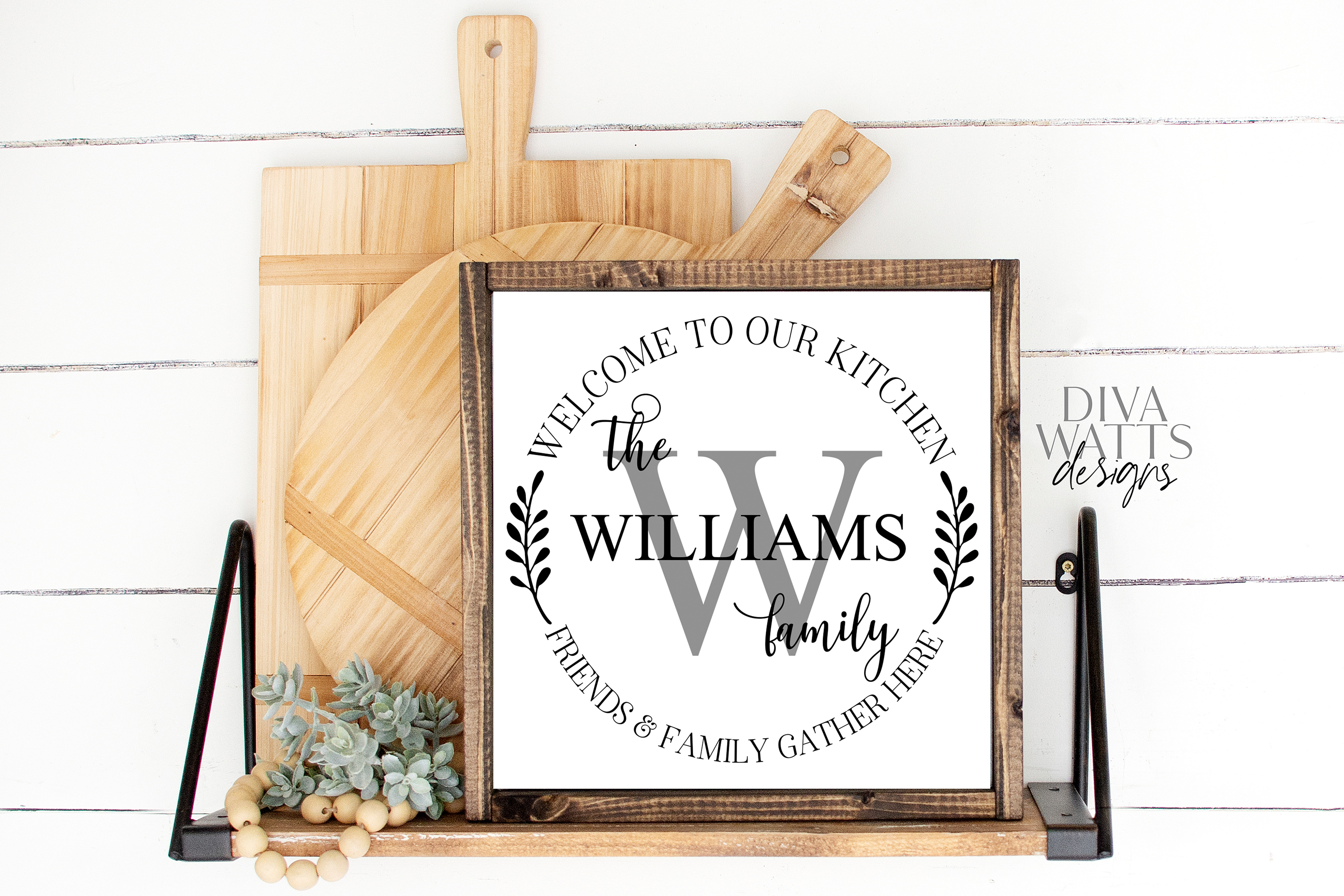 Kitchen Monogram Sign - Friends & Family Gather Here - SVG example image 4