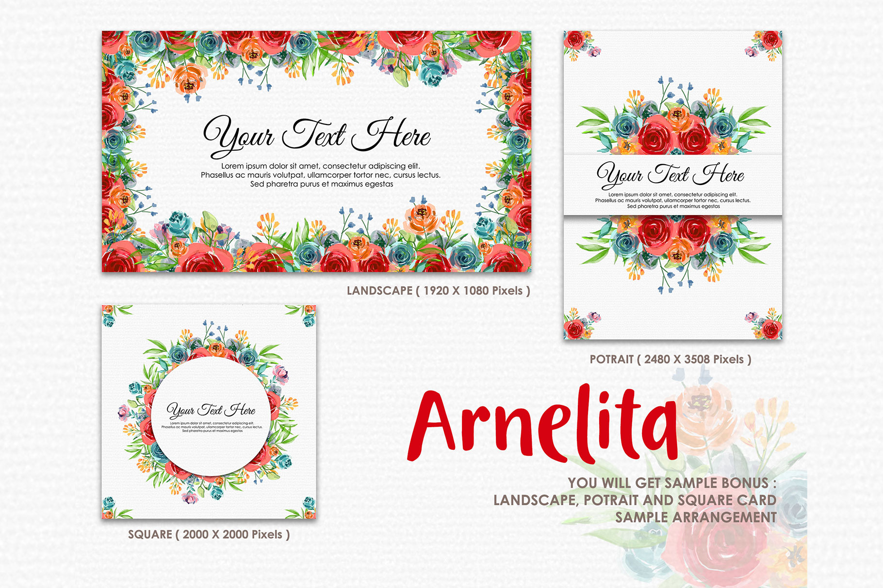 Arnelita - Digital Watercolor Floral Flower Style Clipart example image 4