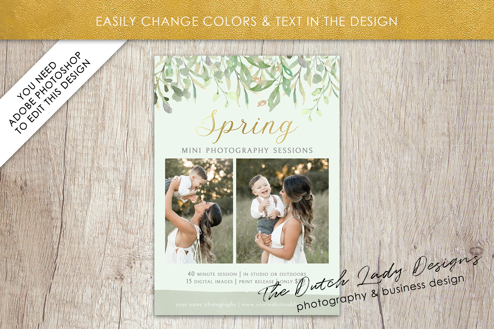 PSD Spring Photo Session Card Template - Design #36 example image 3
