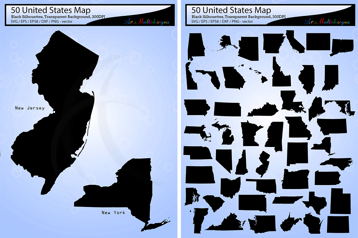 united states map vector 50 / Usa map silhouette / SVG / EPS / PNG / Dxf /  united states map clipart / 50SVG example image 1
