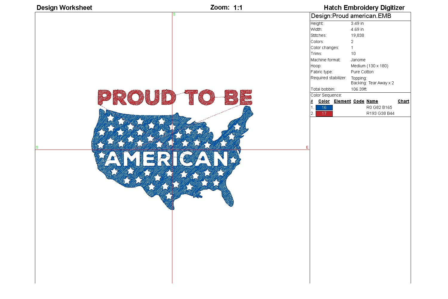 Proud American| Independence day | Machine embroidery| example image 3