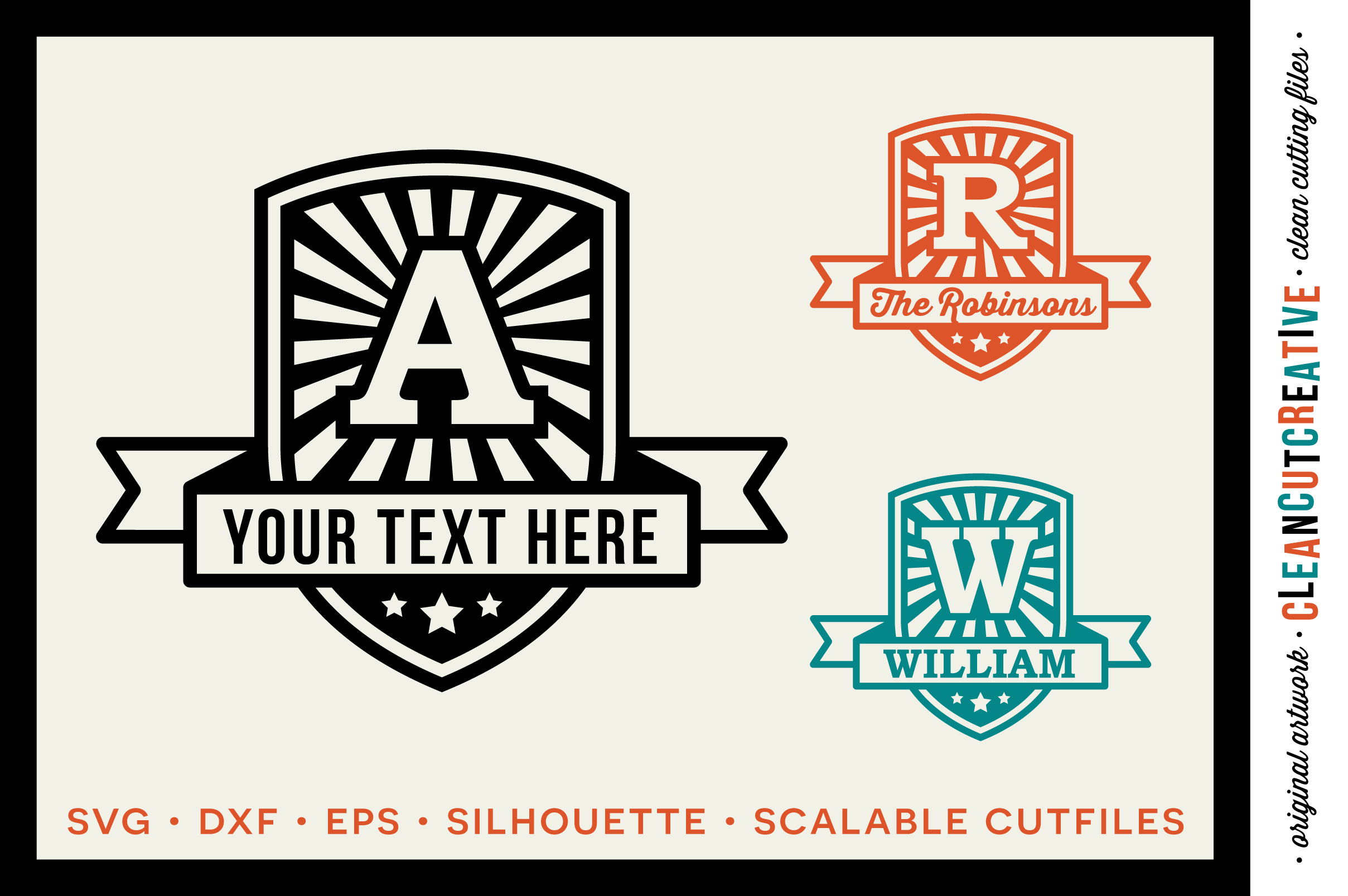 Retro Badge Monogram Font- DXF EPS SVG - Cricut and Silhouette - clean cutting files example image 1