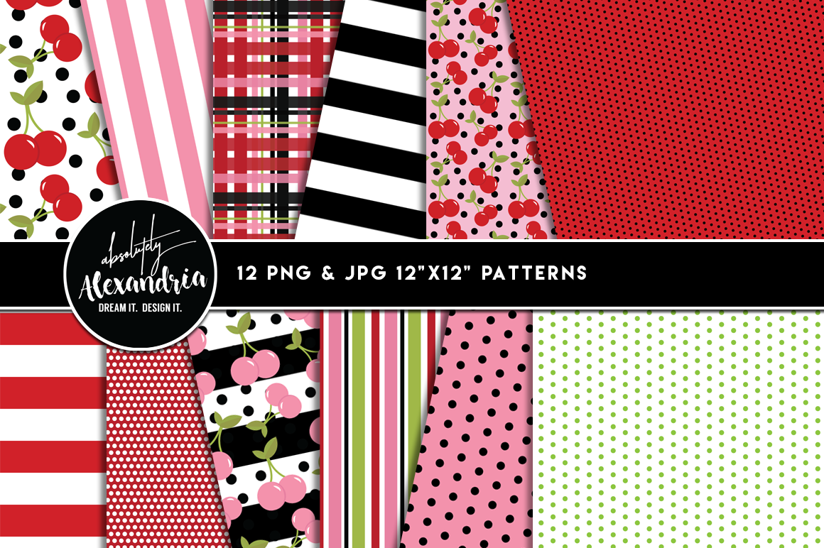 Cherry Treats Clipart Graphics & Digital Paper Patterns Bundle example image 2