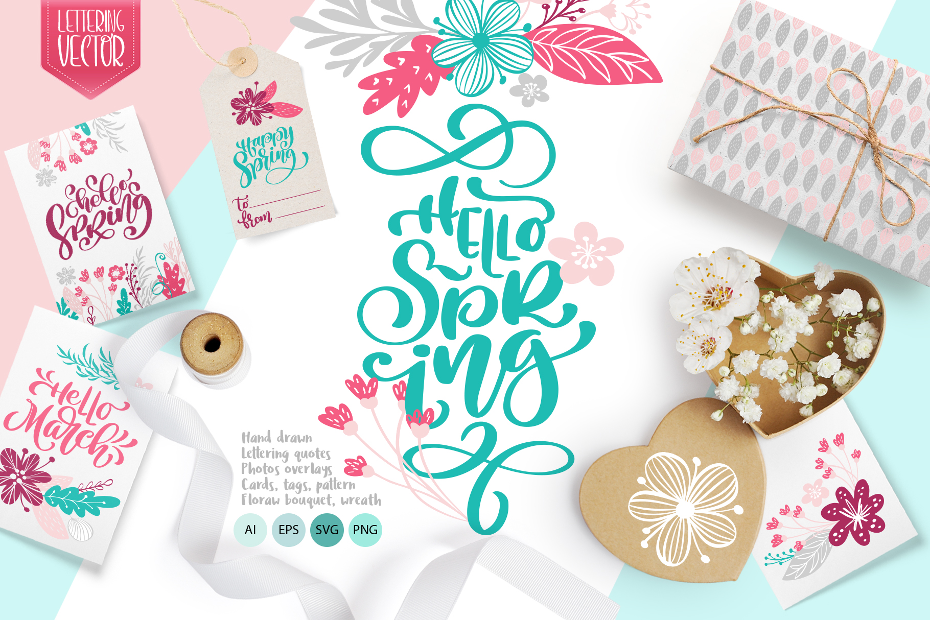 Spring vector lettering & floral greeting card example image 1