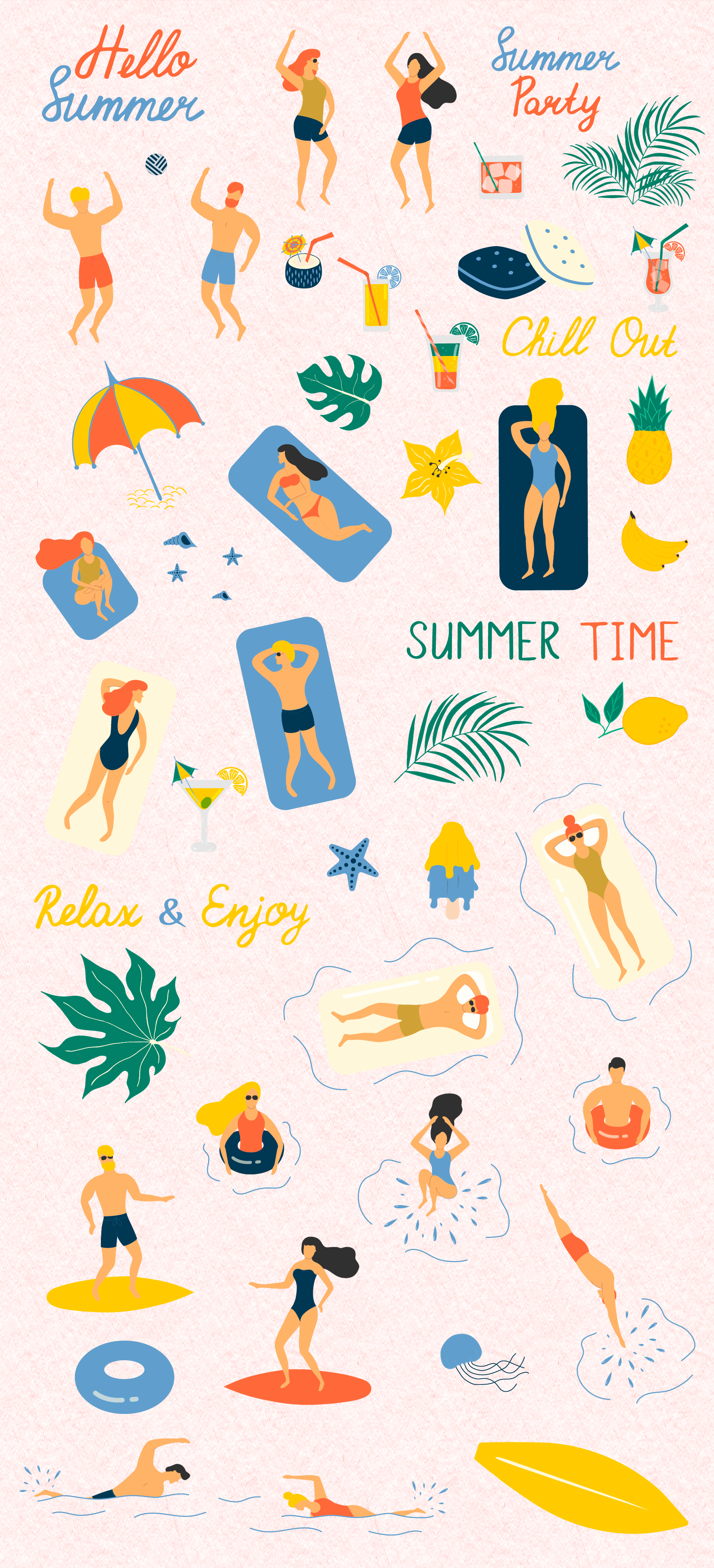 Summer Chill out - over 60 hand drawn summer elements example image 2