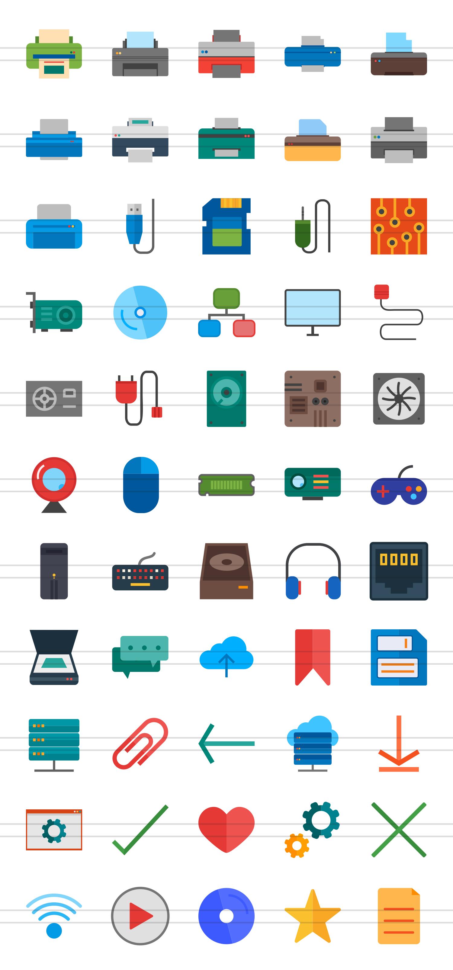55 Computer & hardware Flat Icons example image 2