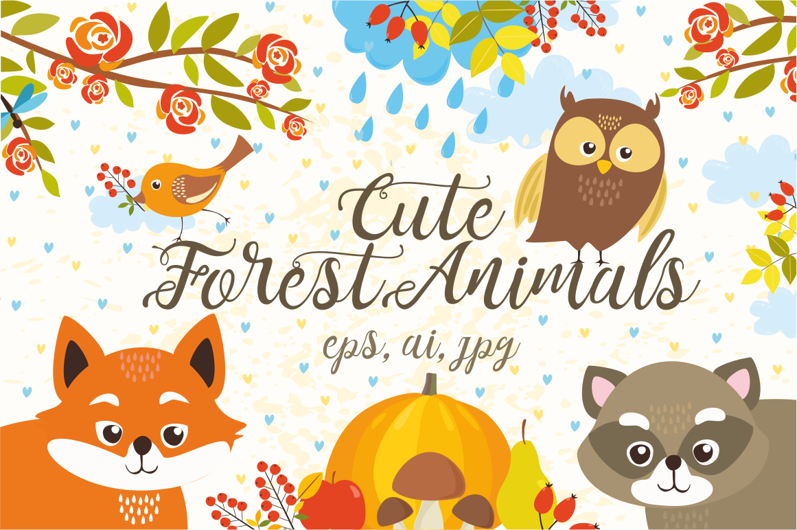 Cute Set Forest Animals and Patterns example image 1
