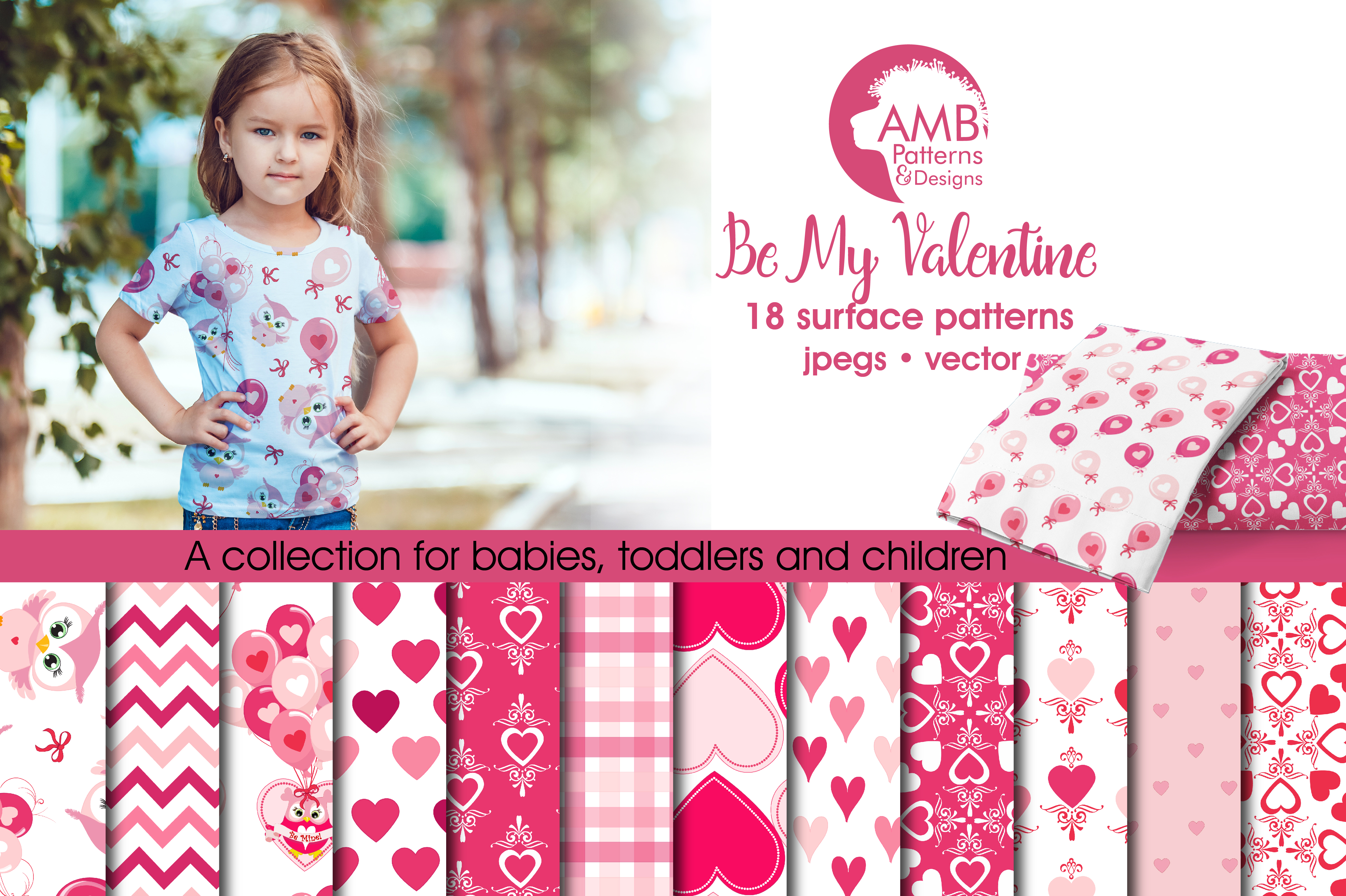 Be my Valentine pattern, papers, surface design AMB-1166 example image 4