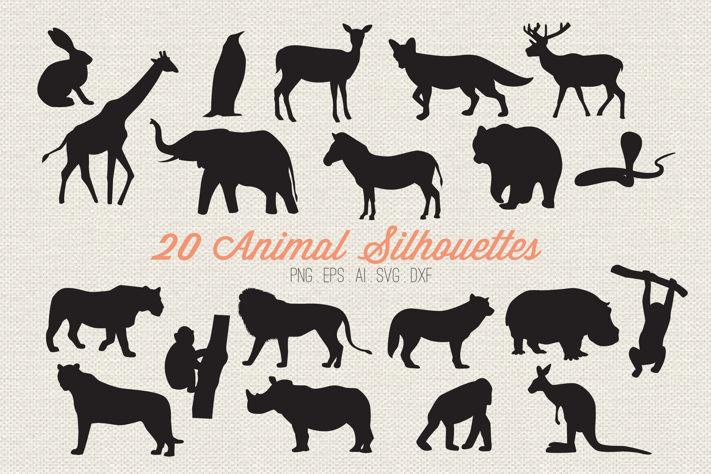 Animal Silhouettes Cut Files example image 1
