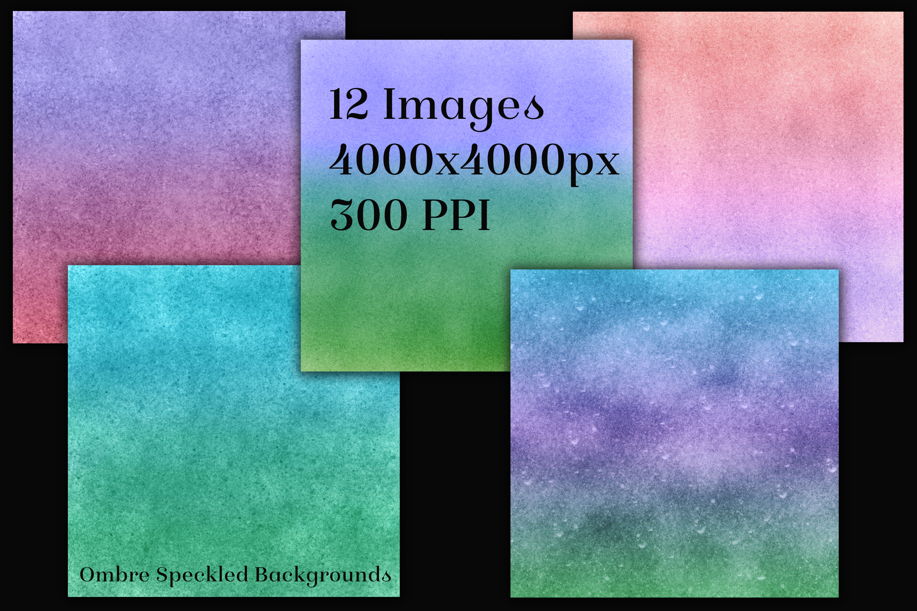 Ombre Speckled Backgrounds - 12 Image Textures Set example image 2