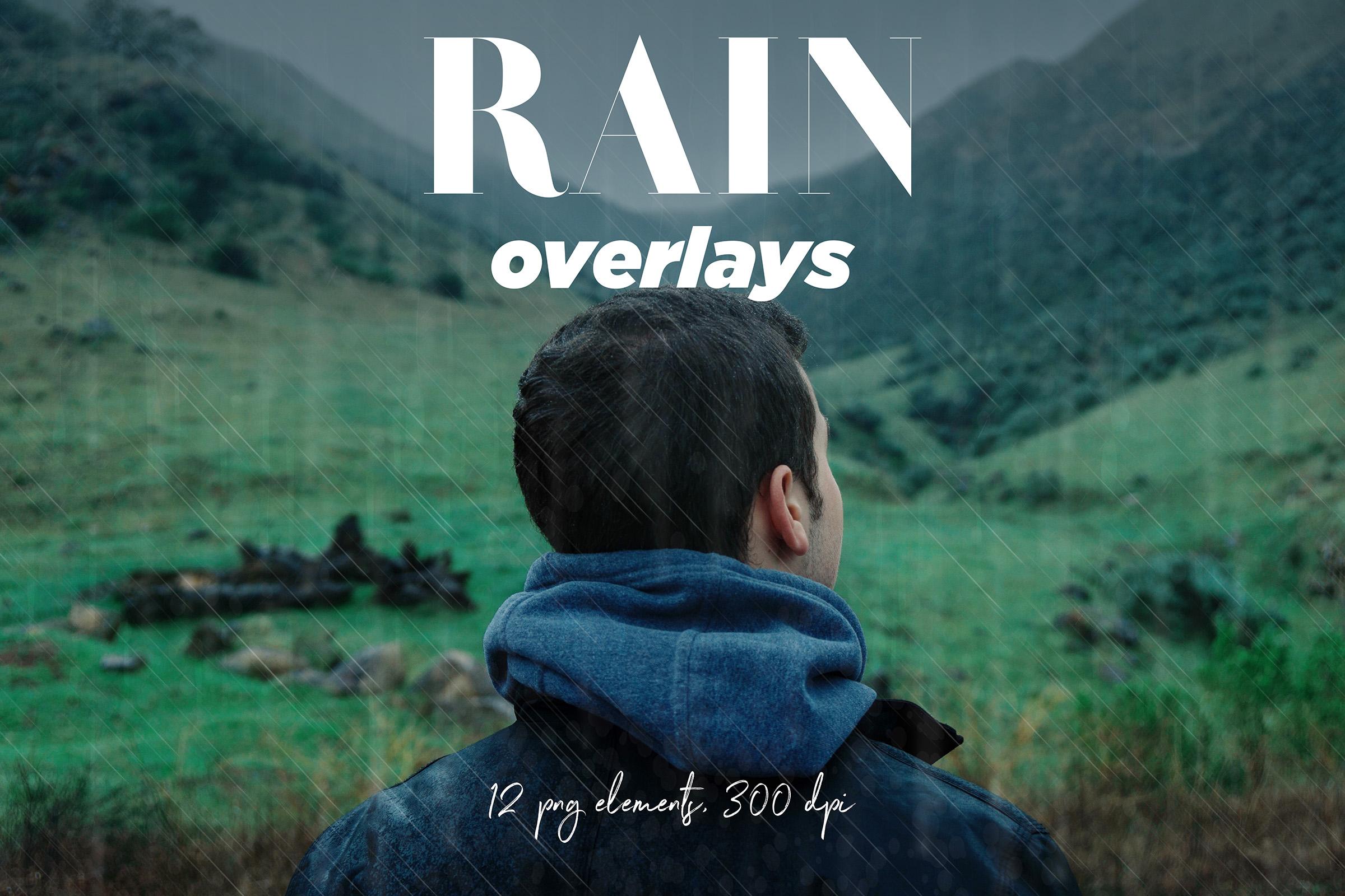 Rain Overlays Clipart, Falling Rain, Photoshop Overlays example image 1