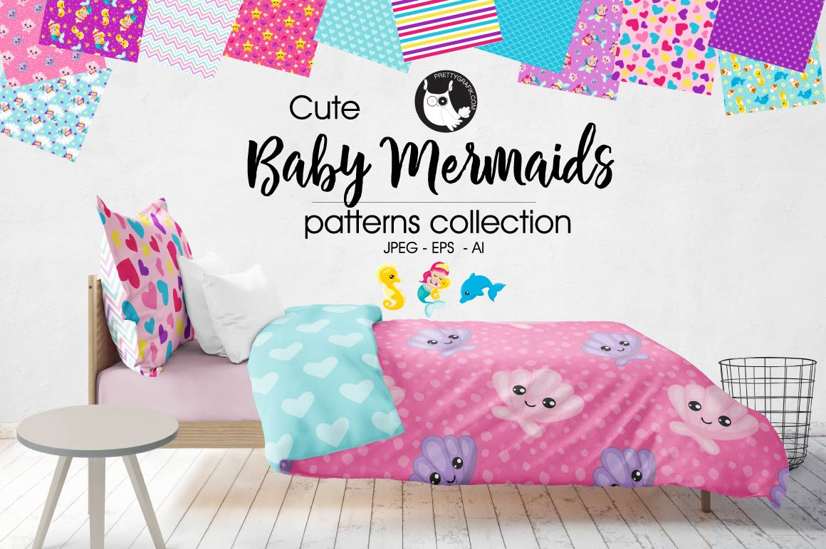 BABY-MERMAIDS, digital papers example image 1