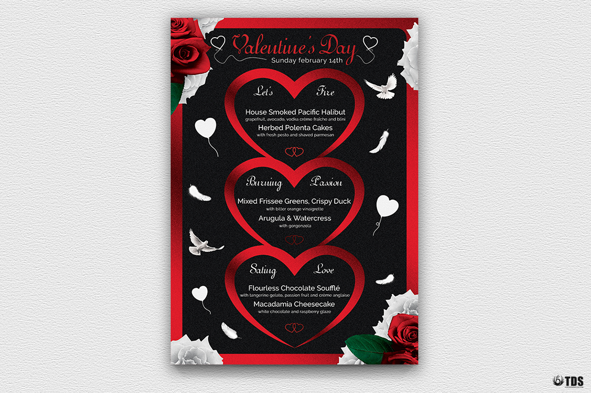 Valentines Day Menu Template V4 example image 2