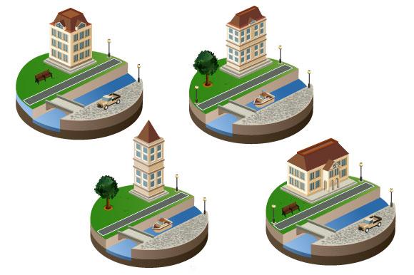 Isometric retro vector city example image 3