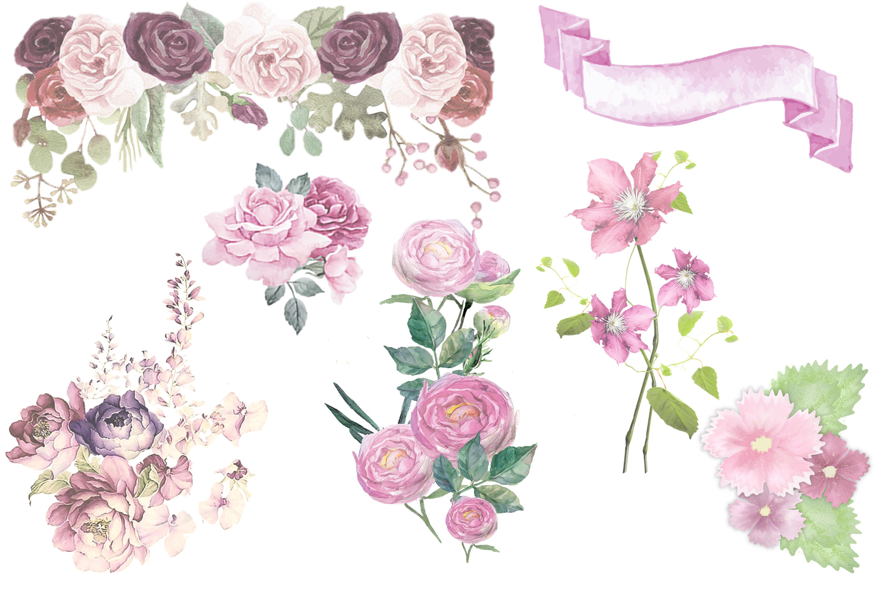 Watercolour Florals Clipart Bundle Commercial Use example image 3