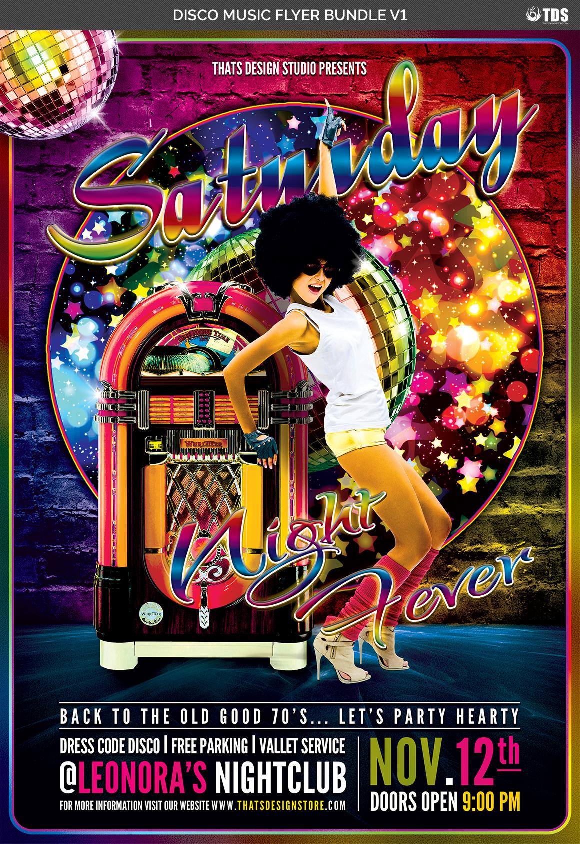 Disco Music Flyer Bundle V1 example image 5