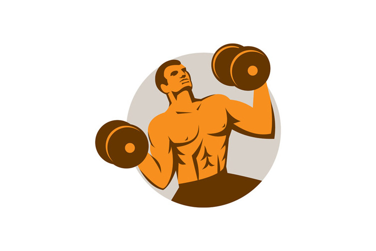 Strongman Crossfit Lifting Dumbbells Circle Retro example image 1