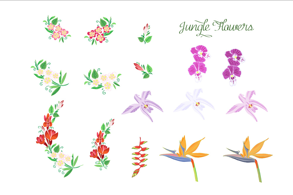 Jungle clipart with flowers example image 3