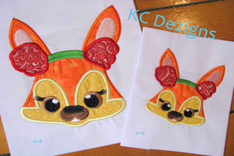 Christmas Critter Fox With Ear Warmers Applique Design example image 1