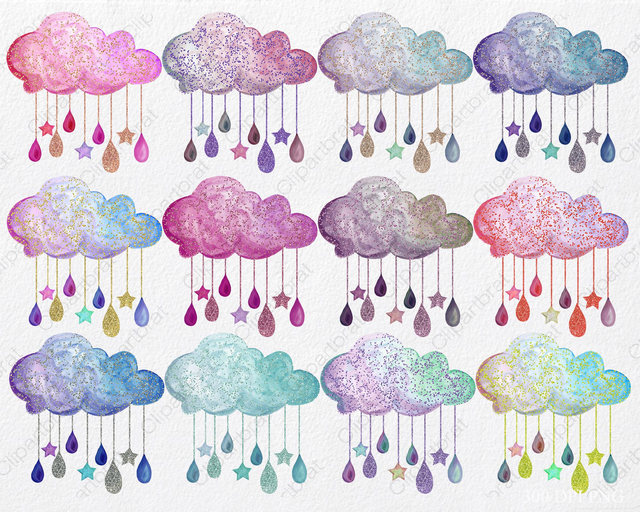 Cute Rainbow Watercolor Rain Clouds & Rain Drops with Metallic Gold Glitter Confetti Baby Shower Clipart Nursery Graphics Set example image 2