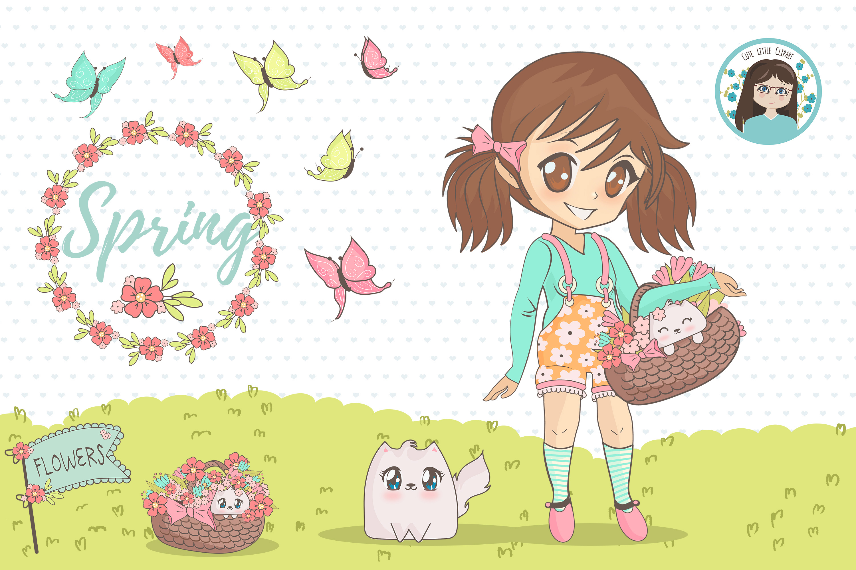 Spring chibi characters example image 4