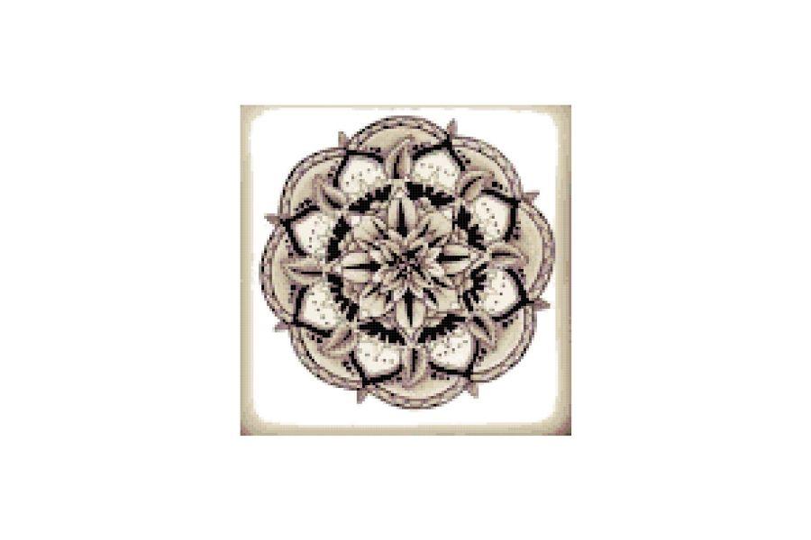 Sepia Mandala Cross Stitch Pattern example image 1