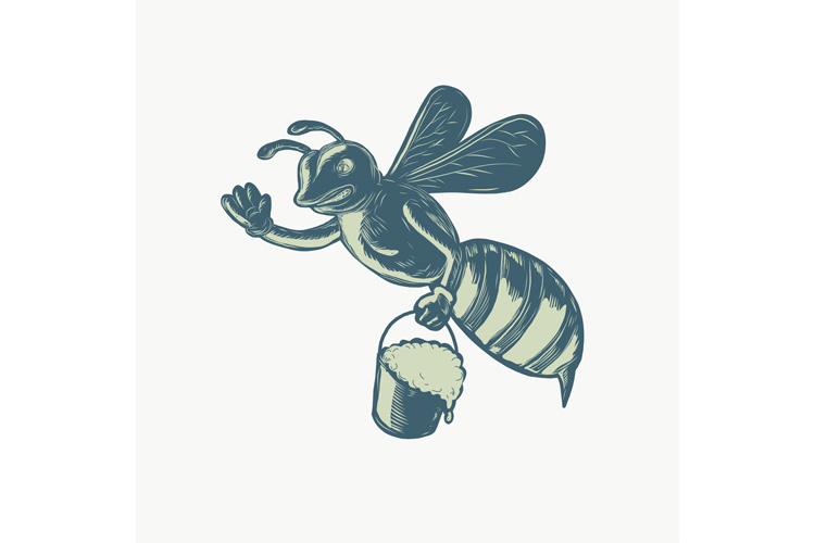 Honey Bee Waving With Pail of Honey Scratchboard example image 1