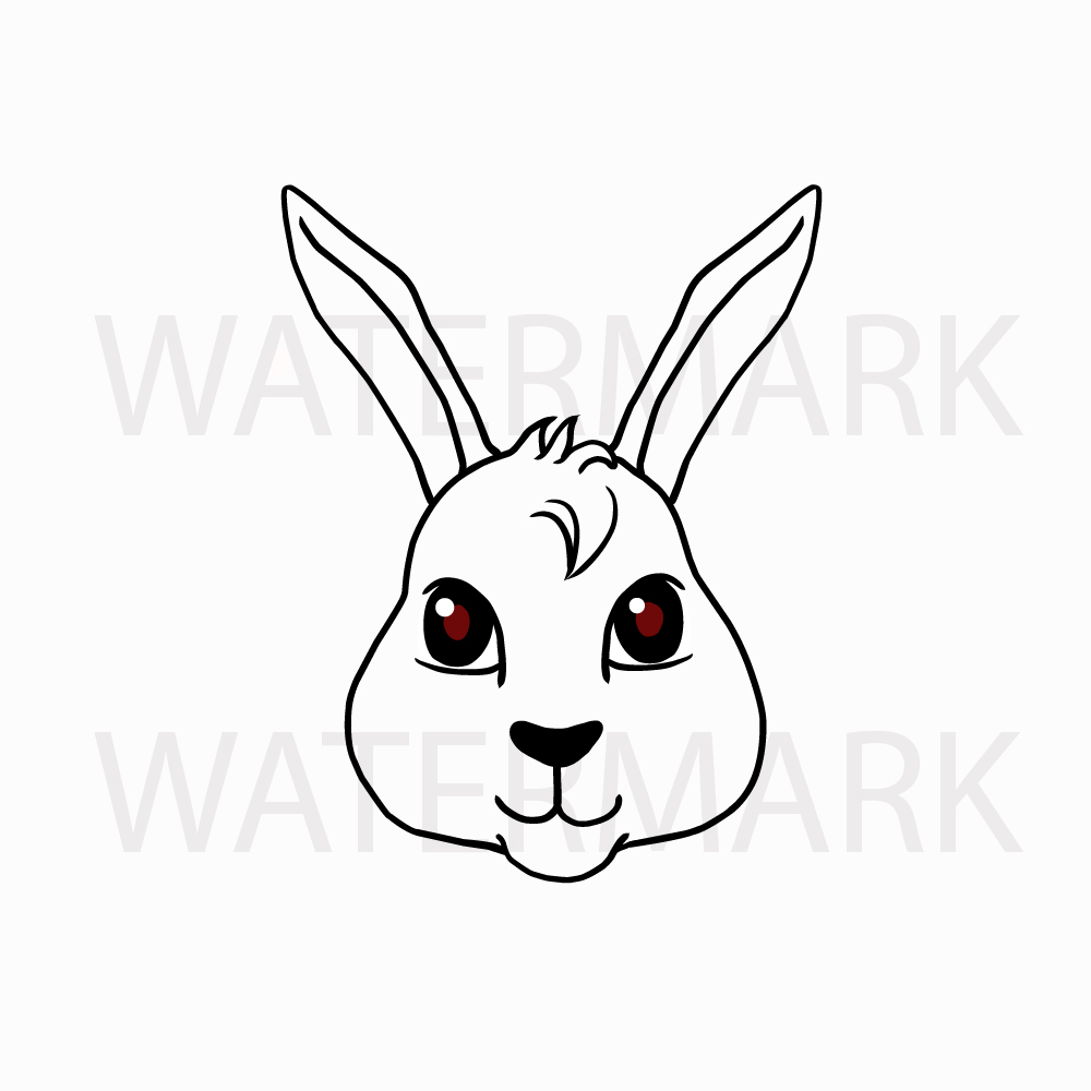 Bunny Rabbit Head so Cute! - SVG/JPG/PNG Hand Drawing example image 2