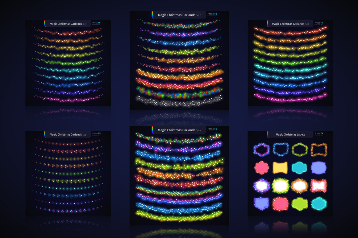 Magic Christmas Lights Vector Brushes Big Set example image 5