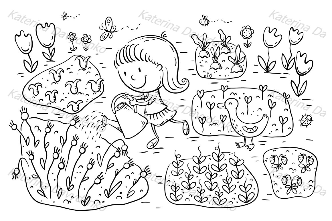 Child watering flowers and vegetables in the garden example image 2