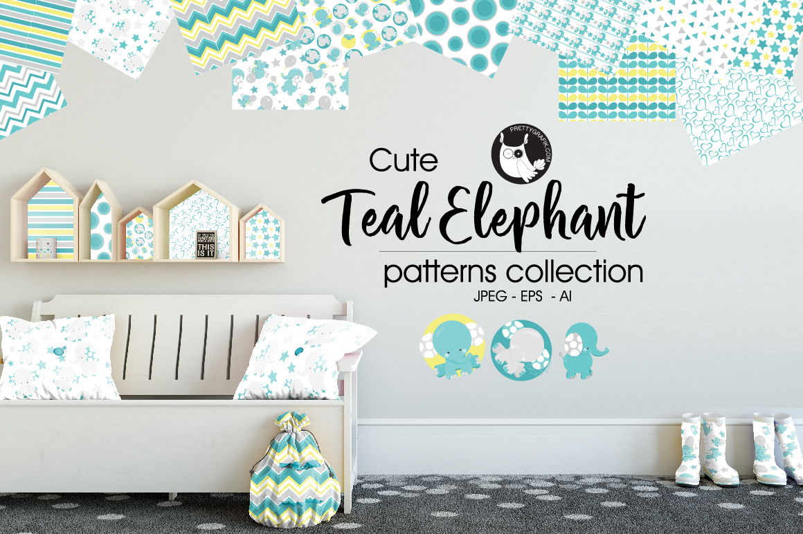 TEAL-ELEPHANT, digital papers example image 1