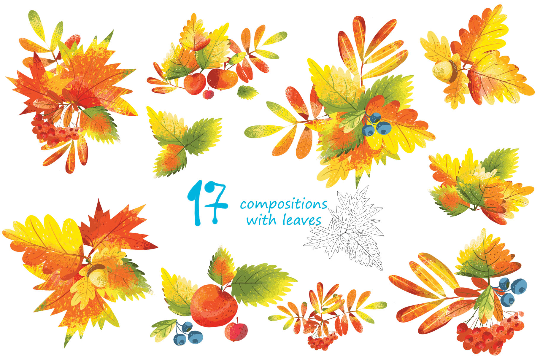 Autumn Leaves - over 30 objects, frames, patterns example image 2