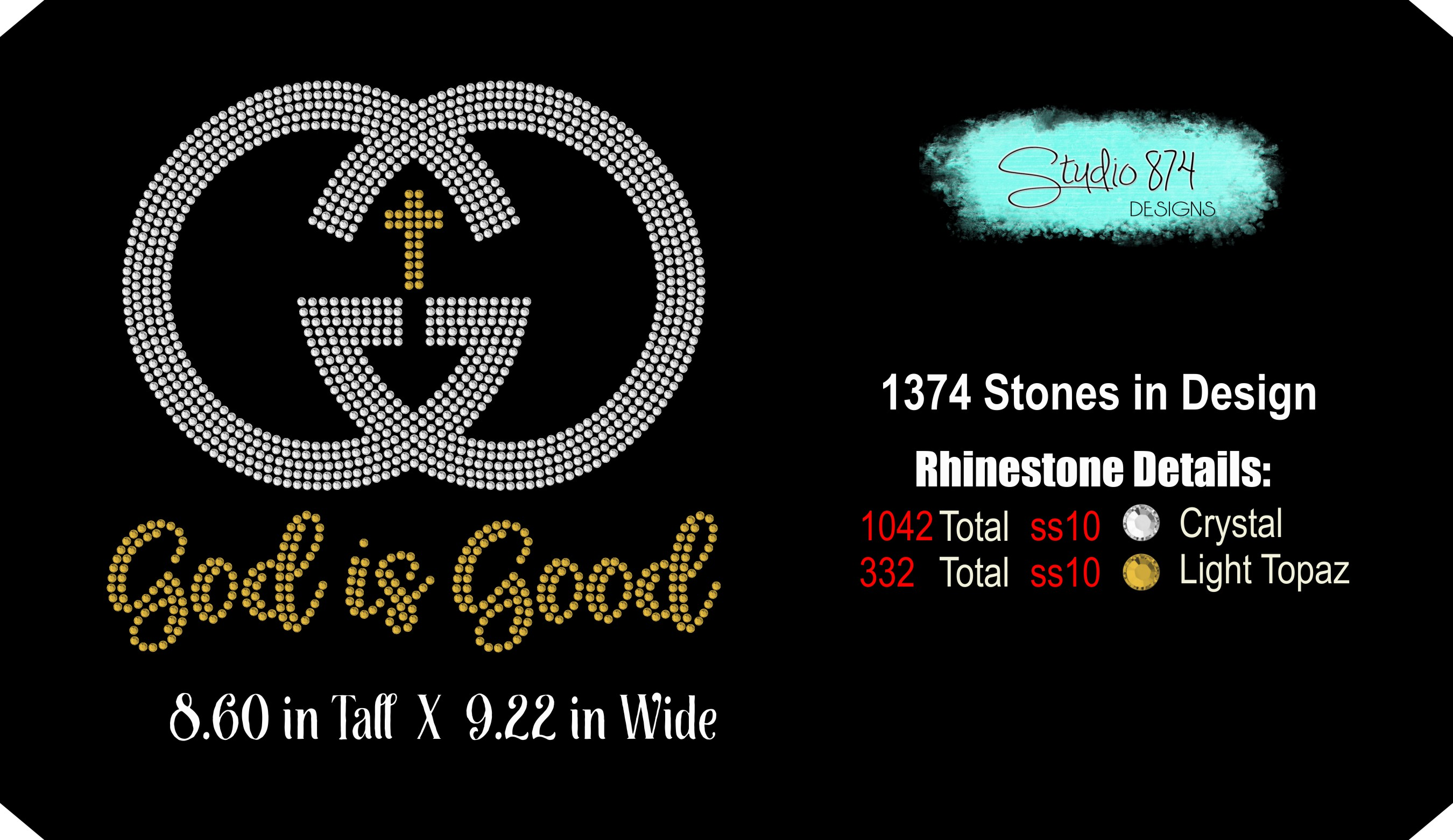 Faith Rhinestone SVG Template - God is Good example image 3