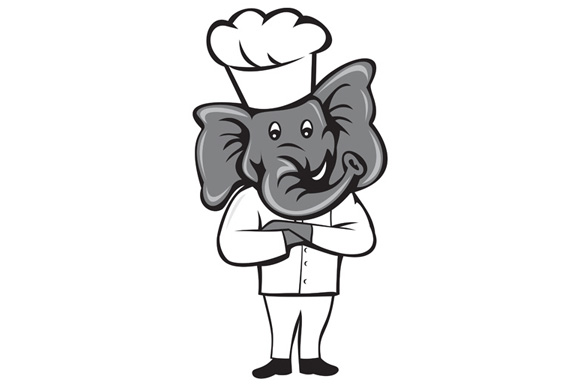 Chef Elephant Arms Crossed Standing Cartoon example image 1
