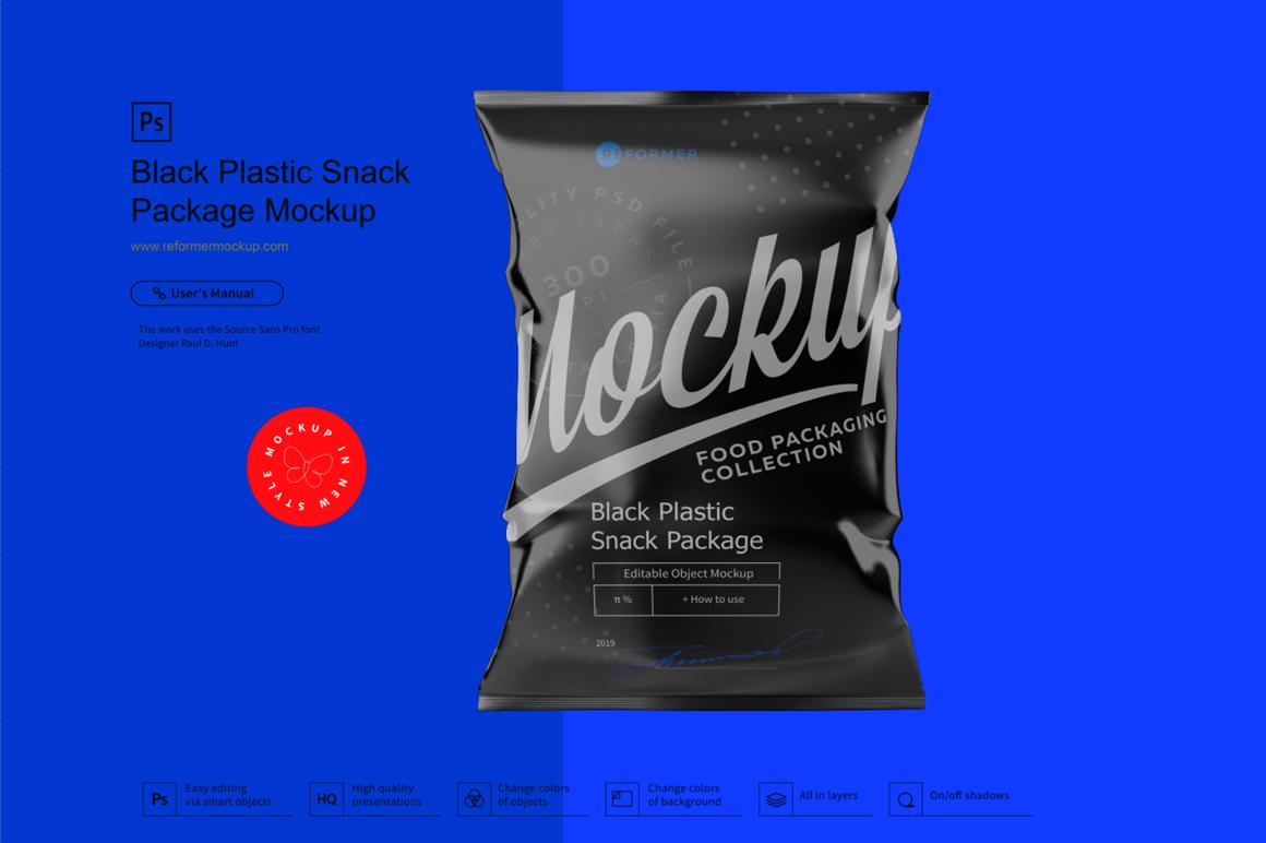 Black Plastic Snack Package Mockup example image 5