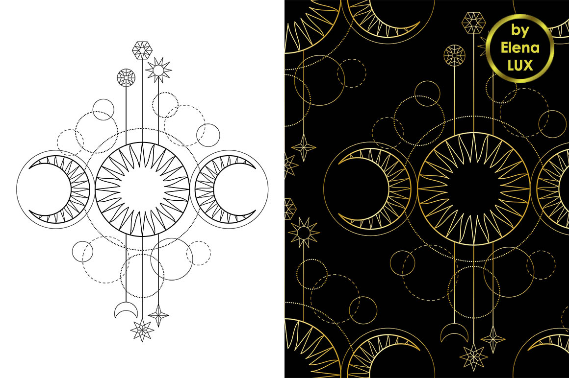 Triple Moon Tattoo Seamless Pattern Set example image 1