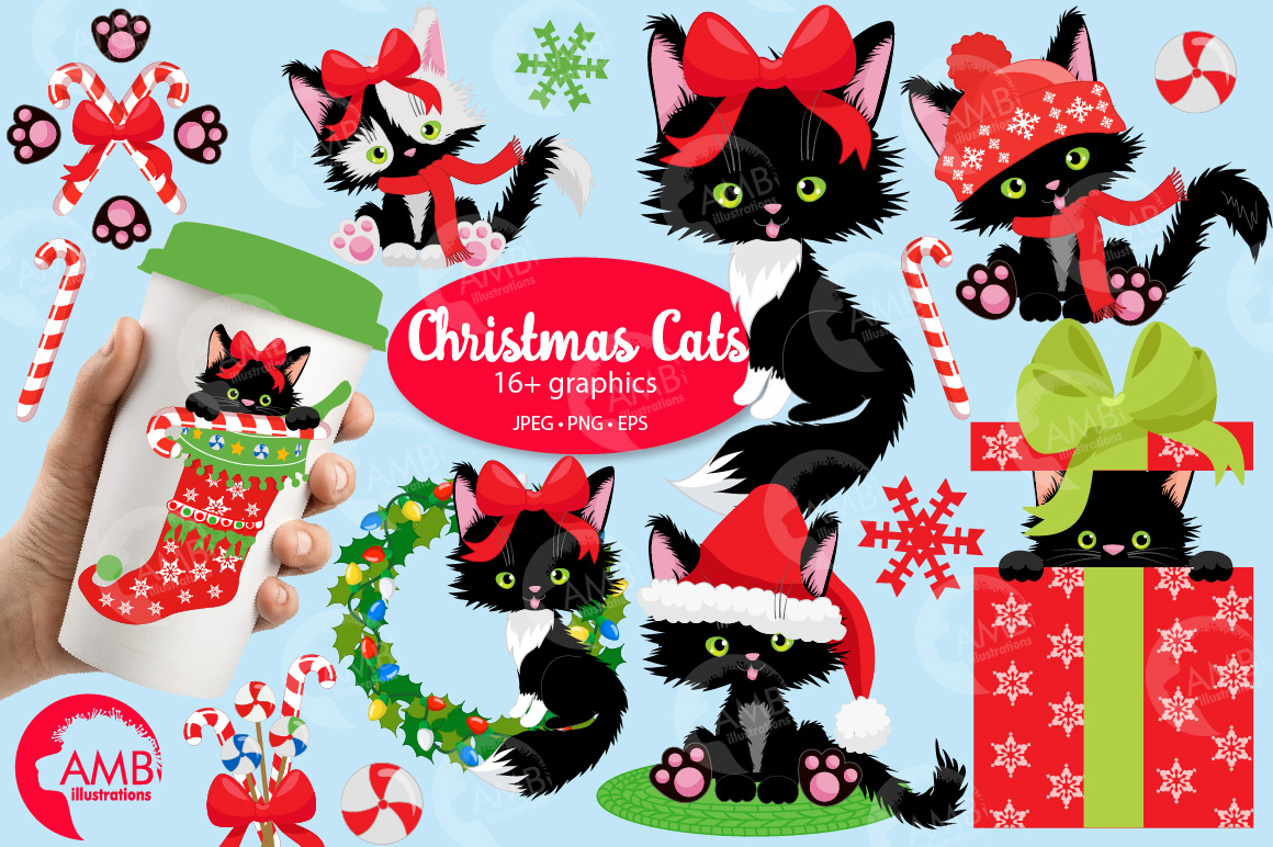 Black cats, Christmas cats graphics and illustrations example image 5