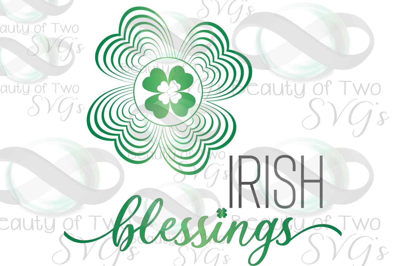 Saint Patricks Irish Blessings Clover Mandela svg and png example image 1